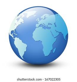 World map and globe  isolated on white background