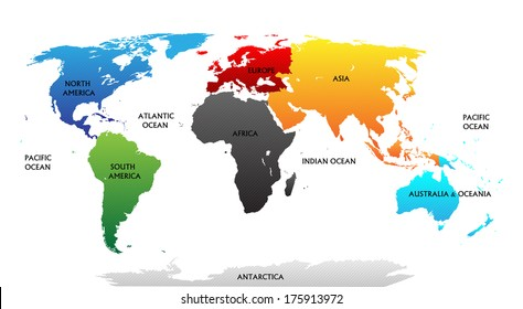 Antarctica map images stock photos vectors shutterstock world map with highlighted continents in different colors all labels are in the separate layer gumiabroncs Choice Image