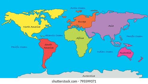 World map with highlighted continents in different colors