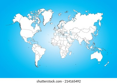 A World map illustration isolated on clean background