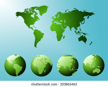 World Map Indicating Geographical Countries And Abstract