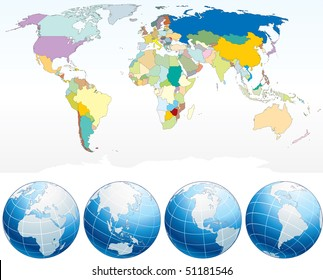 Detailed world map countries political map stock vector 51168823 world map with individual countries political map with detailed drawn continentscountriesborders gumiabroncs Choice Image