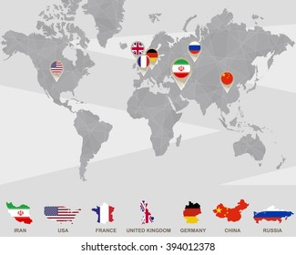World map iran usa france uk stock vector 267875171 shutterstock world map with iran usa france uk germany china russia gumiabroncs Image collections