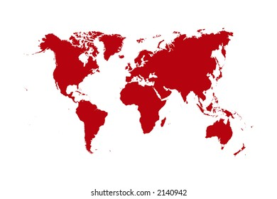 Map World Red Continents White Background Stock Vector (Royalty Free ...