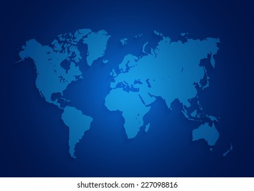 world map located on a dark blue background