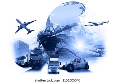 World map with logistic network distribution on background. Logistic and transport concept in front Industrial Container Cargo freight ship for Concept of fast or instant shipping, Online goods order