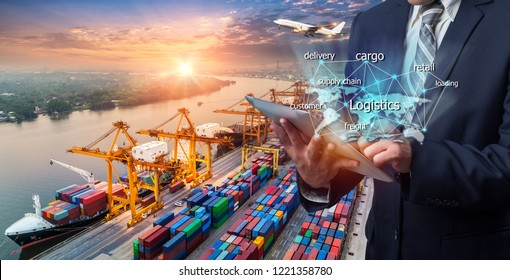 World map with logistic network distribution on background. Logistic and transport concept in front Industrial Container Cargo freight ship for Concept of fast or instant shipping, Online goods orders