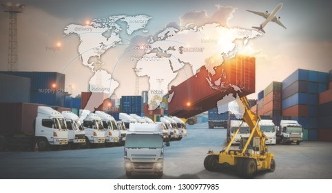 World map with logistic network distribution on background. Logistic and transport concept in front  Container Cargo freight ship for Concept of fast or instant shipping, Online goods orders worldwide