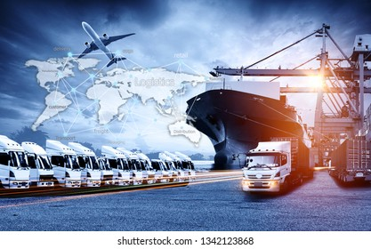 World map with logistic network distribution, Logistic and transport concept in front Industrial Container Cargo freight ship for Concept of fast or instant shipping, Online goods orders worldwide