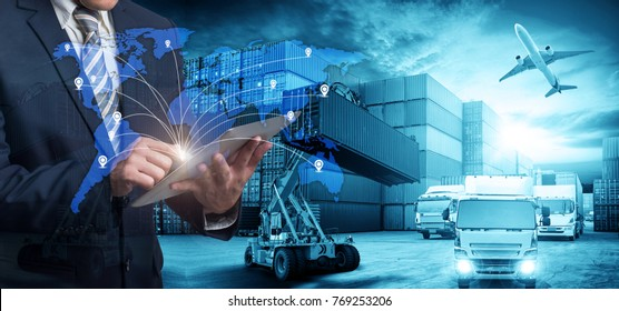 World map with logistic network distribution on background. Logistic and transport concept in front Industrial Container Cargo freight ship for Concept of fast or instant shipping, Online goods orders - Shutterstock ID 769253206