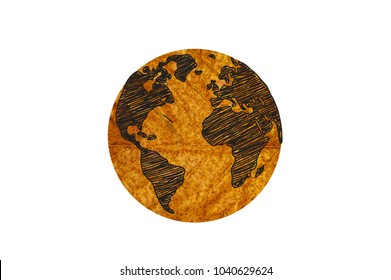 World map made of brown leaves, concept ecology