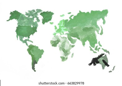 Melbourne australia world map images stock photos vectors the world map is made with colored watercolor paints on white paper with the participation of gumiabroncs Choice Image