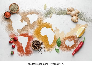 World map made of different spices on light background