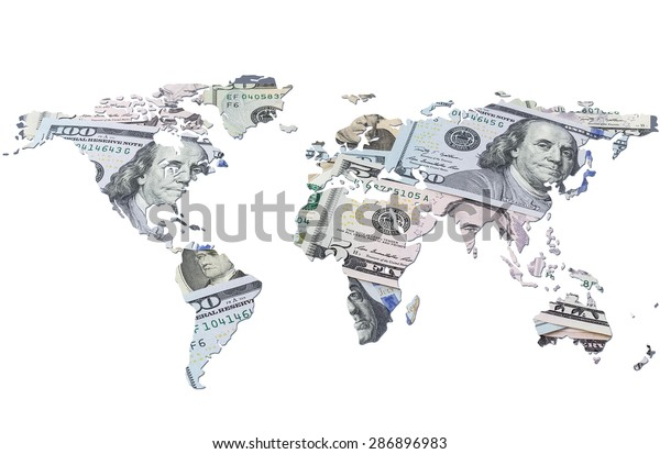 The world map made with dollar bills. Isolated on white background
