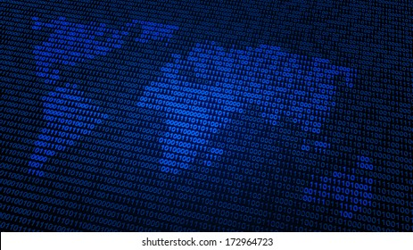 World map made out of binary code