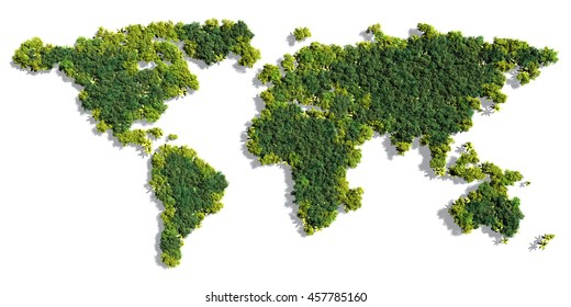 World map made up of various detailed trees on solid white background including the shadows. This 3D illustration of a forest is conceptual of the global green environmental issues worldwide