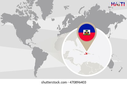 Haiti pin on map images stock photos vectors shutterstock world map with magnified haiti haiti flag and map raster copy gumiabroncs Images