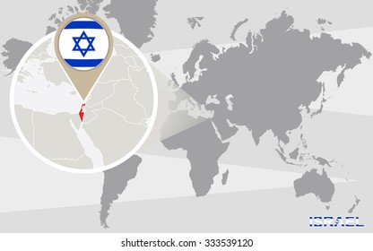 Abstract blue world map magnified israel stock vector 430368154 world map with magnified israel israel flag and map rasterized copy gumiabroncs Images