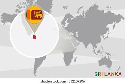 World map with magnified Sri Lanka. Sri Lanka flag and map. Rasterized Copy.