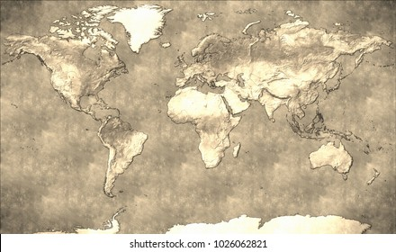 World Map in Miller Projection, vintage style The Miller projection is a good alternative to other projections because it has less distortion towards the poles.