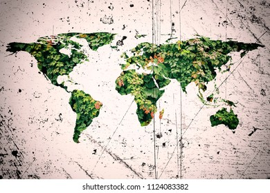 world map and nature concept