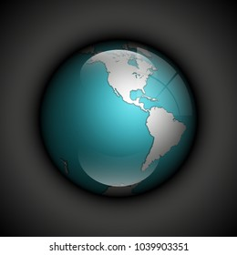 world map with ocean. Globe icon. Planet Earth on black background. Continents world picture. Colorful poster presentation
