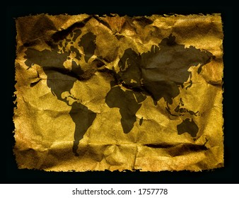 World map on aged paper