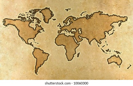 World map on an ancient grunge parchment sheet background
