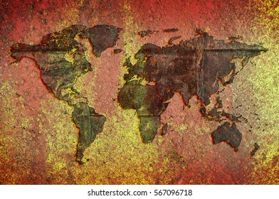 World map grunge background stock photo image royalty free world map on a background of rust and yellow colored stone gumiabroncs Gallery