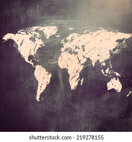 world map on chalk board. Earth silhouette is furnished by visibleearth.nasa.gov