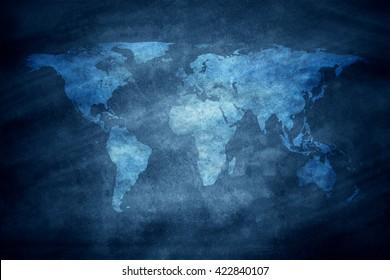 world map on chalkboard texture
