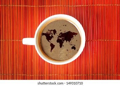 World map on coffee
