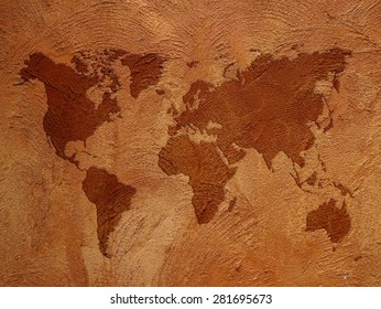 world map on color wall background