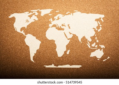 World Map on Cork Board Background