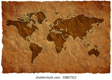 World map on crumple sheet background