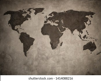 world map on decorative plaster background
