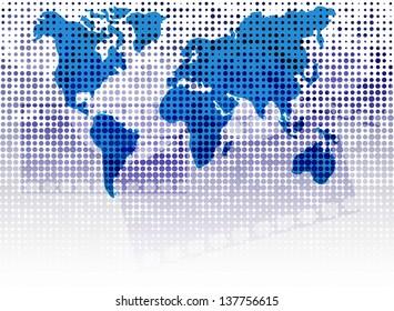 World Map on dot background