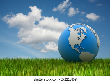 World map on grass , 3d rendered image.