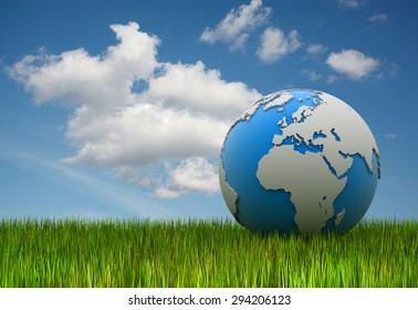 World map on green grass , 3d rendered image.