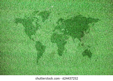 world map on green grass Earth day concept,