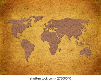 world map on gunge paper texture
