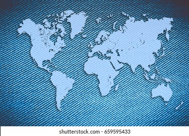 World map on jeans background. Travel concept banner, flyer or poster