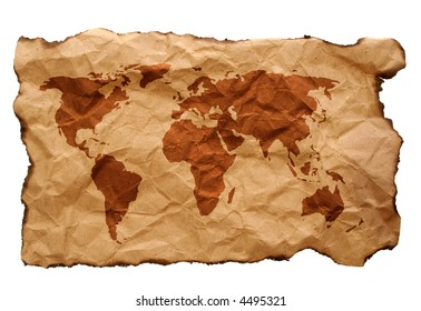 world map on old crumpled paper