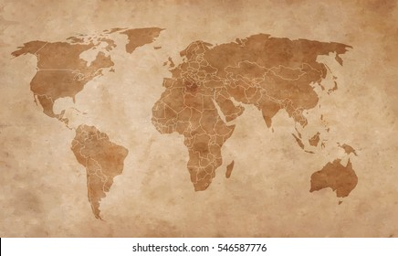 Old world maps stock illustrations images vectors shutterstock world map on an old piece of paper gumiabroncs Image collections