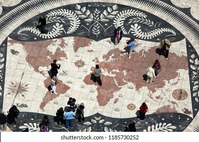 a world map on the square near the padrao dos Descobrimentos in Belem in the city of Lisbon in Portugal in Europe.     Portugal, Lisbon, May, 2009