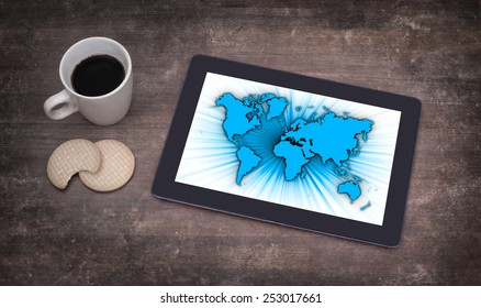 World map on a tablet, concept of globalisation