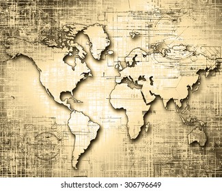 World map on a technological background, old paper style
