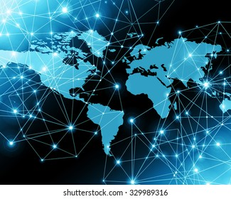 Global network connection world map vector vector de stock589656308 world map on a technological background glowing lines symbols of the internet radio gumiabroncs Choice Image