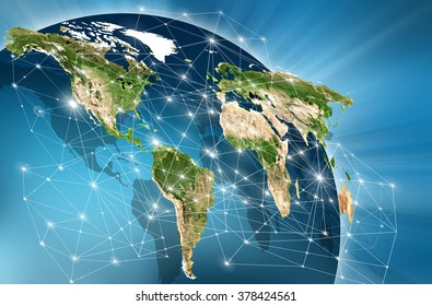 World map on a technological background, bright lines and rays, symbols of the Internet,  television, mobile and satellite communications. Primary source and elements of this image furnished by NASA