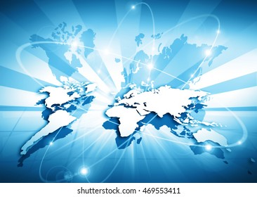World map on a technological background, glowing lines symbols of the Internet, radio, television, mobile and satellite communications. Internet Concept of global business.